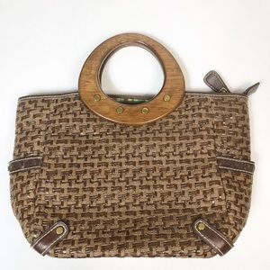 Fossil VTG straw bag with wooden handles